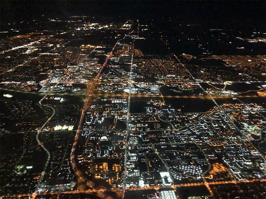 Toronto from the sky at night