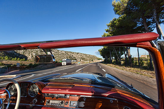 On the Way to back from Spain with the Mercedes Benz 220 SE Cabriolet